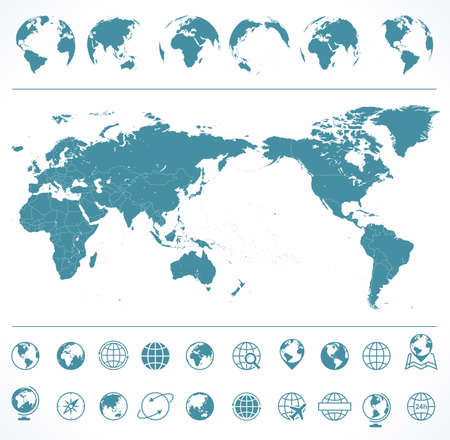 World Map Blue Green and Globes Asia in Center vector Illustration