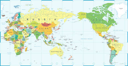 World map white blue, Asia in center vector.
