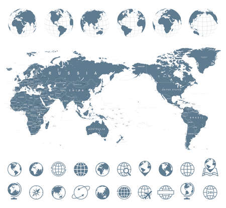 World map gray, Asia in center vector.