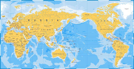 World map yellow blue, Asia in Center vector.