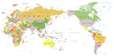 World map color, Asia in center vector.