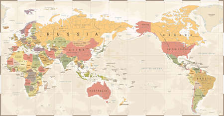 World map vintage old retro, Asia in center vector. Vettoriali
