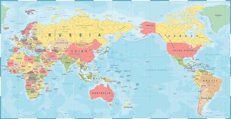 Retro velho do vintage do mapa do mundo, vetor de Ásia no centro.