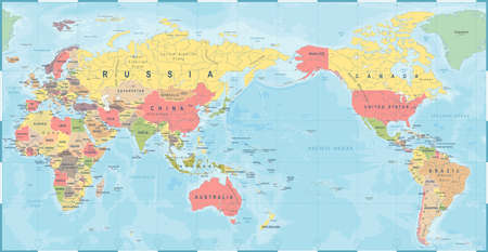 World map vintage old retro, Asia in center vector. 矢量图像