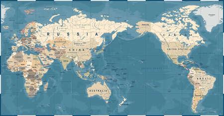 Mapa świata vintage stary retro, Azja w centrum wektor. Ilustracje wektorowe
