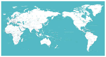 World map flat Asia in center vector. Vectores