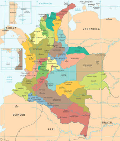 Colombia map high detailed vector illustration.