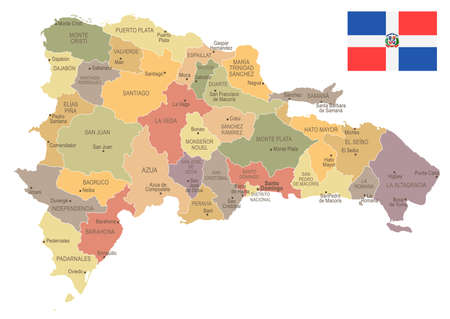 Dominican Republic vintage map and flag high detailed vector illustration. Ilustrace