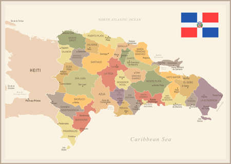 Dominican Republic vintage map and flag high detailed vector illustration. Çizim