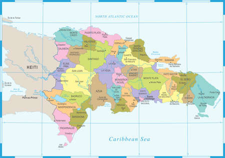 Dominican Republic map high detailed vector illustration. Ilustração