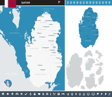 Qatar map and flag high detailed vector illustration.