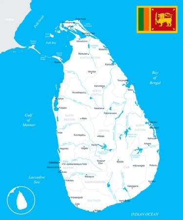 Sri Lanka map and flag High Detailed Vector Illustration.  イラスト・ベクター素材