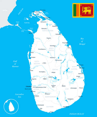 Sri Lanka map and flag High Detailed Vector Illustration. Иллюстрация