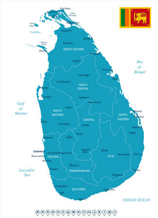 Sri Lanka map and flag High Detailed Vector Illustration. Illustration