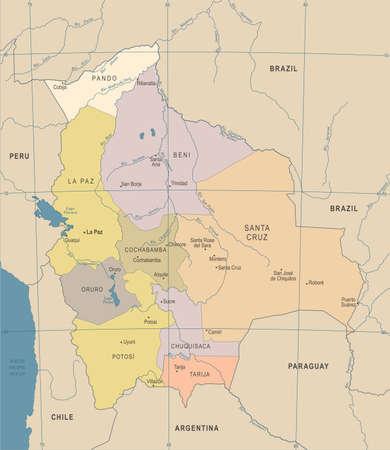 Bolivia Map, Vintage High Detailed Vector Illustration.