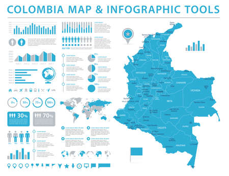 Colombia Map  in High Detailed Vector Illustration.