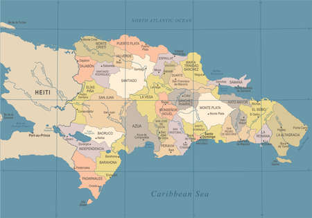 Dominican Republic Map  in High Detailed Vector Illustration. Illustration