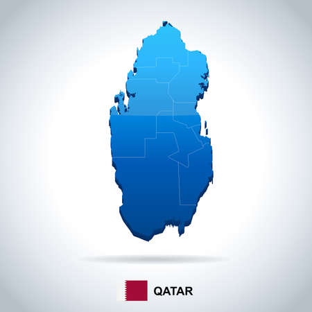 Qatar map and flag in High Detailed Vector Illustration.