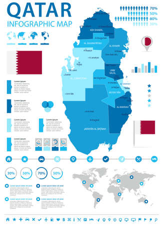 Qatar information graphic map and flag in High Detailed Vector Illustration.