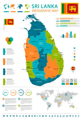 Sri Lanka infographic map and flag in High Detailed Vector Illustration.