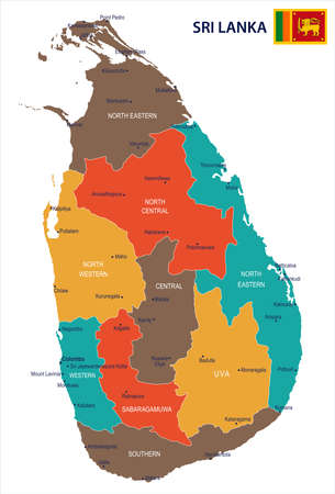 Sri Lanka map and flag in High Detailed Vector Illustration.  イラスト・ベクター素材