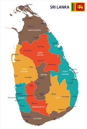 Sri Lanka map and flag in High Detailed Vector Illustration. Иллюстрация