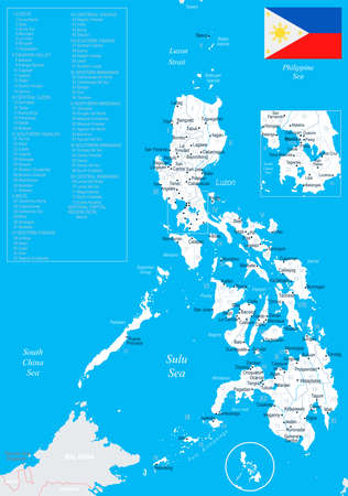 Philippines map and flag in High Detailed Vector Illustration.