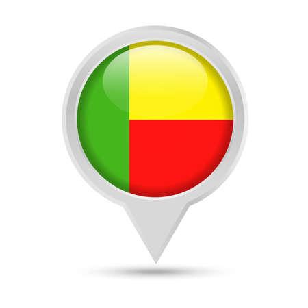 Benin Flag Round Pin Vector Icon - Illustration Illustration