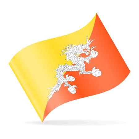Bhutan Flag Vector Waving Icon Illustration