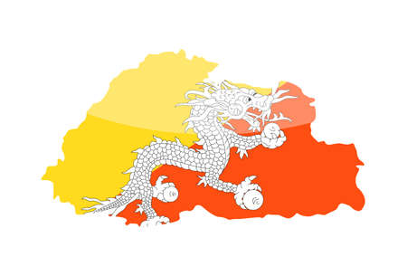 Bhutan Flag Country Contour Vector Icon - Illustration