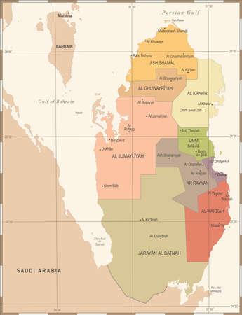 Qatar Map - Vintage High Detailed Vector Illustration Illustration