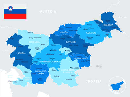 Slovenia map and flag - High Detailed Vector Illustration