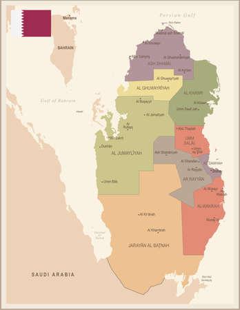 Qatar - vintage map and flag - High Detailed Vector Illustration