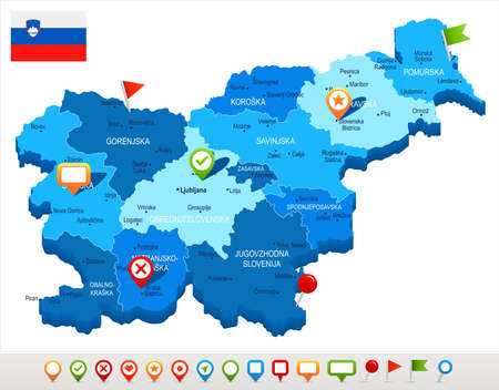 Slovenia map and flag - High Detailed Vector Illustration Stock Vector - 94032125