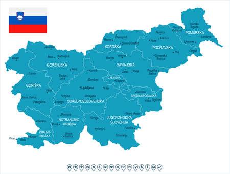 Kaart en vlag van Slovenië - hoog gedetailleerde vectorillustratie