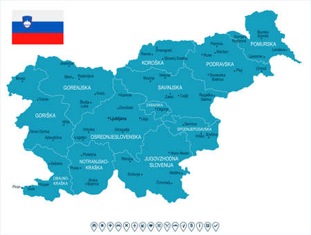 Slovenia map and flag - High Detailed Vector Illustration 免版税图像 - 94032128