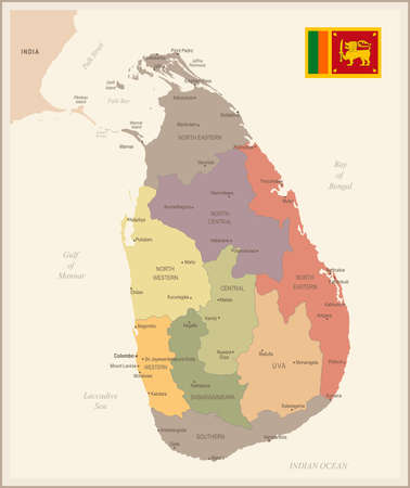 Sri Lanka - vintage map and flag - High Detailed Vector Illustration