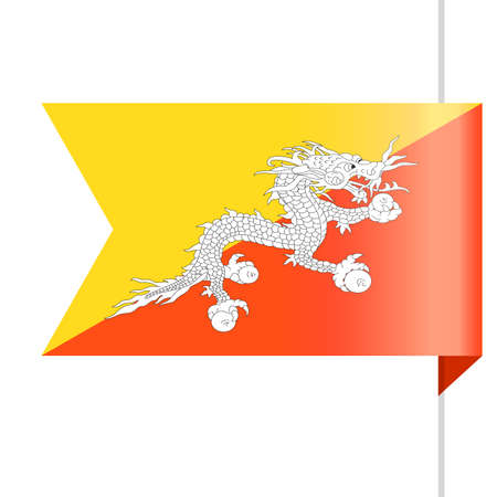 Bhutan Flag Vector Bookmark Icon - Illustration