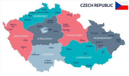 Czech Republic map and flag High Detailed Vector Illustration Ilustração