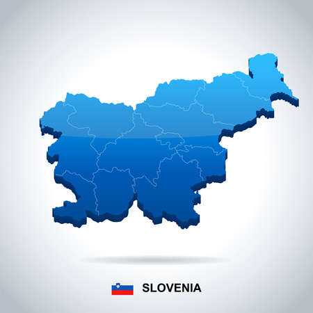 Slovenia map and flag - High detailed vector illustration.