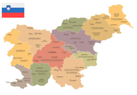 Slovenië - vintage kaart en vlag - hoog gedetailleerde vectorillustratie