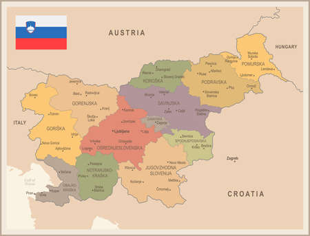 Slovenia - vintage map and flag - High Detailed Vector Illustration