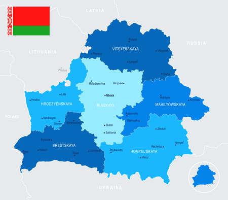 Belarus Map - Detailed Info Graphic Vector Illustration
