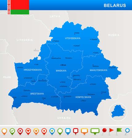 Belarus map and flag - highly detailed vector illustration Illustration