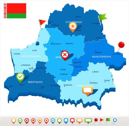 Belarus map and flag - High Detailed Vector Illustration Illustration