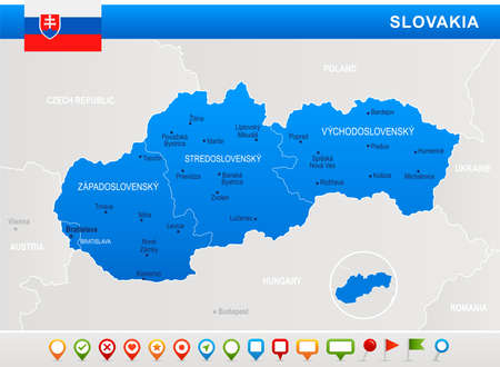 Slovakia map and flag - highly detailed vector illustration