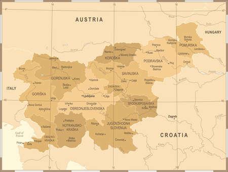 Slovenia Map - Vintage High Detailed Vector Illustration