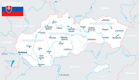 Slovakia map and flag - High Detailed Vector Illustration