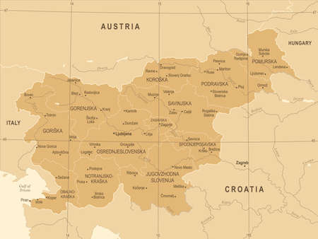 Slovenia Map - Vintage High Detailed Vector Illustration