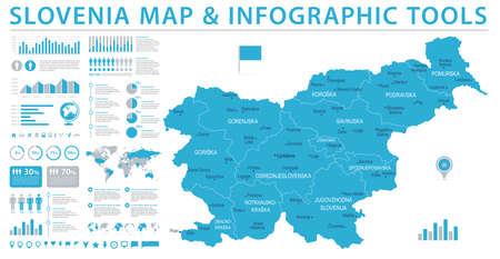 Slovenia Map - Detailed Info Graphic Vector Illustration Stock Vector - 94653061